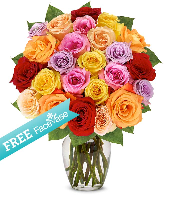 Two Dozen Rainbow Roses with Free Face Vase
