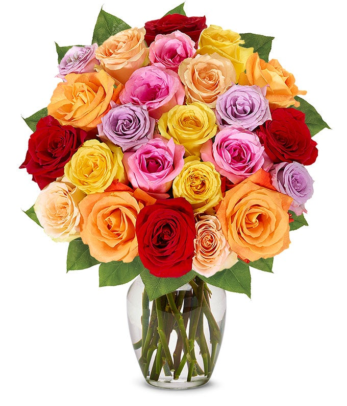 Two Dozen Rainbow Roses with Birthday Vase