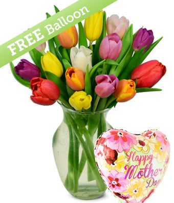 Rainbow Tulip Bouquet with Free Mother's Day Balloon - 15 Stems