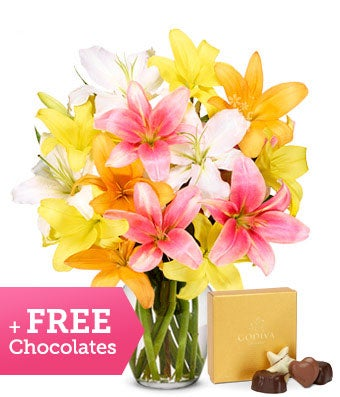 Stunning Lily Bouquet with Free Godiva Chocolate