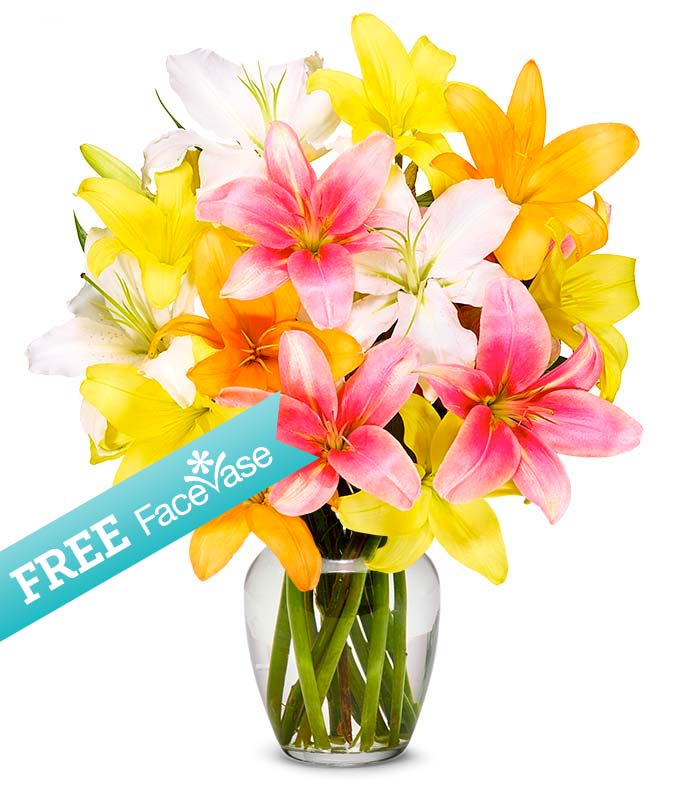 Stunning Lily Bouquet with Free Face Vase
