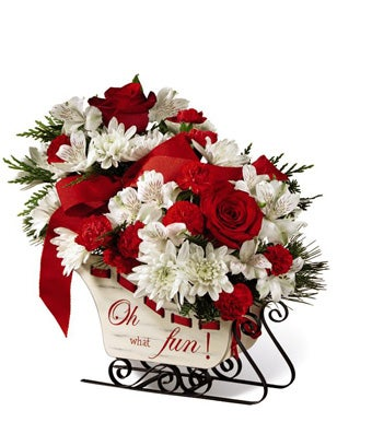 Christmas Sleigh Floral Arrangement