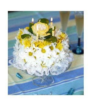 White and Yellow Birthday Cake