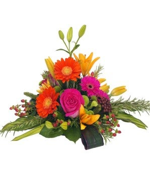 Pink rose and orange gerbera daisy bouquet available for delivery same day