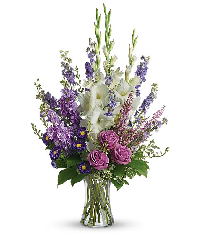 Types of flowers for funeral service delivery purple funeral flower arrangement