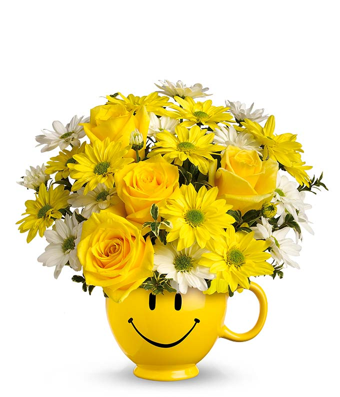 Yellow Smiley Mug Flower Bouquet at From You Flowers