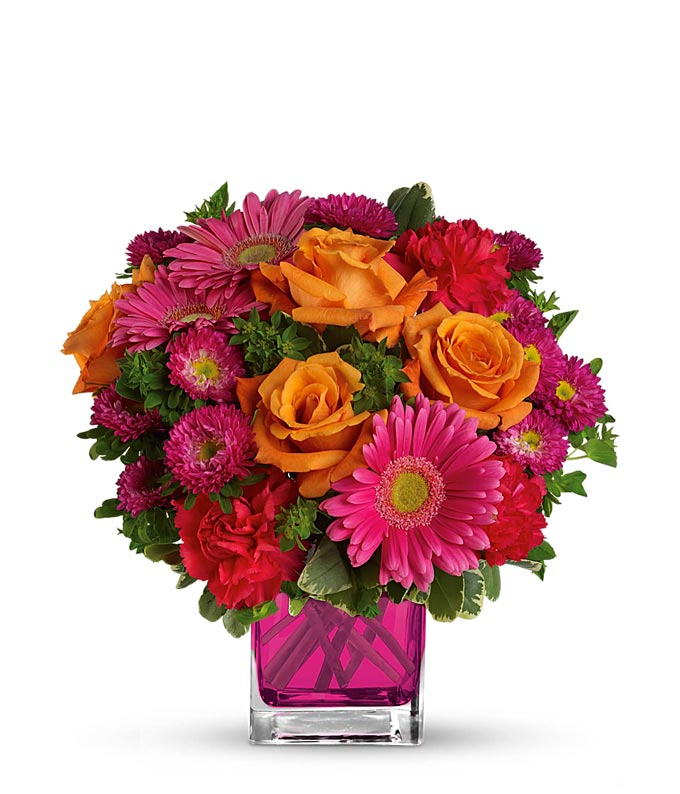 orange roses, hot pink gerber daisies and pink matsumoto flower bouquet