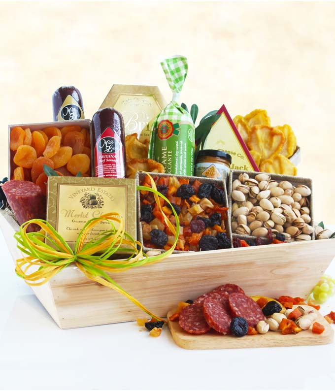 Meat & Cheese Wooden Crate Gift Basket