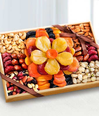 Flowering Gourmet Kosher Dried Fruit & Nut Tray - Large