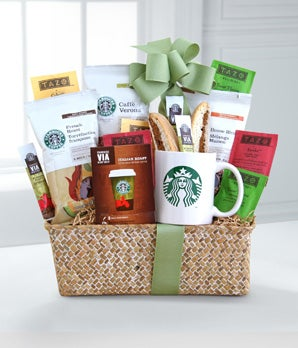 Starbucks Evergreen Coffee and Tea - Regular Send thanks and good wishes with this gift of Starbucks Coffee and Tazo Tea delights! A perfect way to show your gratitude or send your appreciation for a job well done, this lovely cream basket contains three classic Starbucks coffees: French Roast, Caffe Verona and Starbucks VIA ready brew, six Tazo Tea bags and two sweet Nonni's biscotti, as well as a classic green Starbucks logo mug. Exquisite and ready to be enjoyed! Includes: Starbucks Coffee Variety  Tazo Tea Variety  Sweet Nonni's Biscotti  Starbucks Logo Mug  Woven Basket with Ribbon