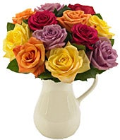 Classic Multi-colored Roses in a Pitcher