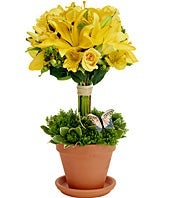 Yellow flower topiary with lilies and alstroemeria