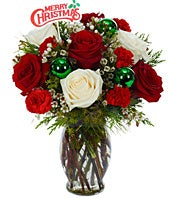 Christmas white and red mixed arrangement with decorative pick
