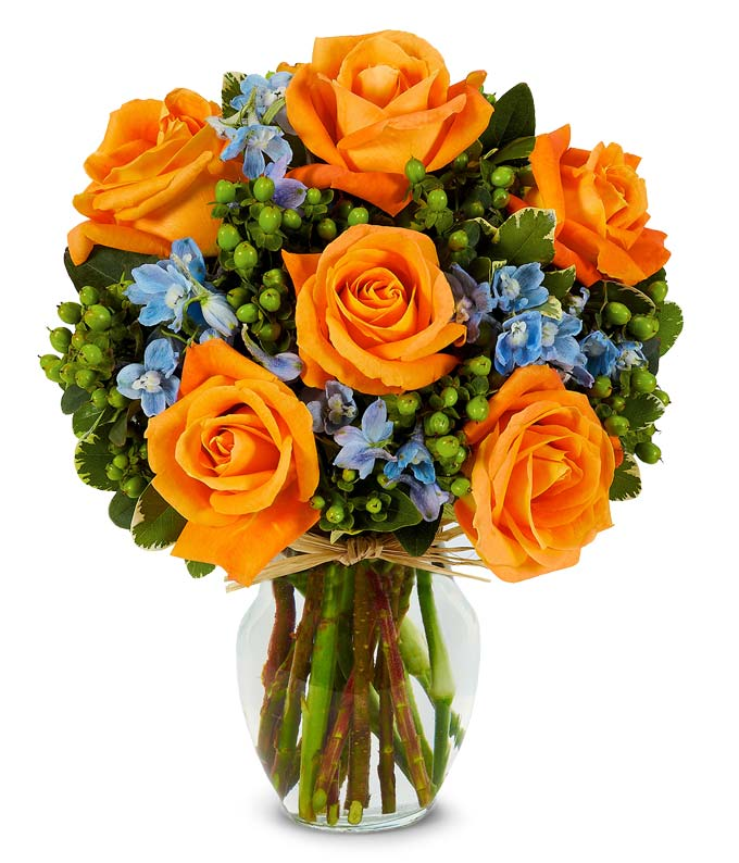Orange roses and blue flowers