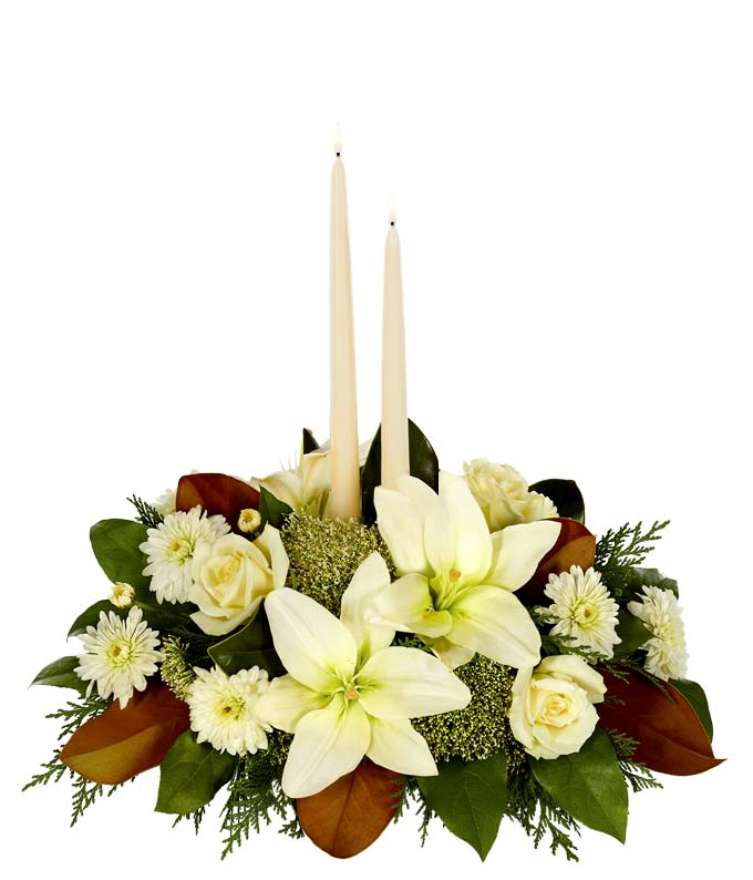 White Magnolia Christmas Centerpiece