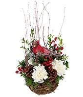 Holiday flowers with a decorative bird