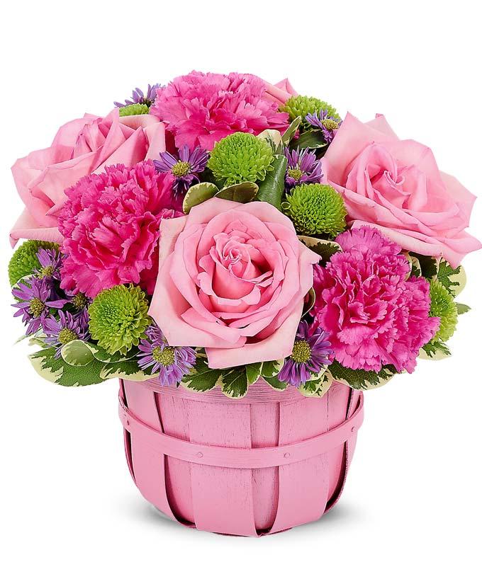Pink Floral Spring Basket Bouquet