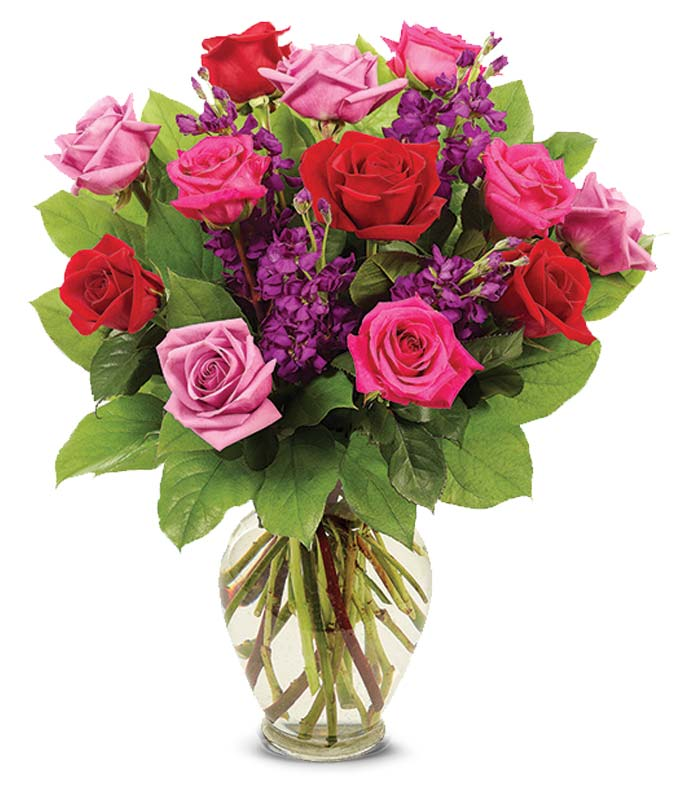 Red roses and hot pink roses for Valentine delivery