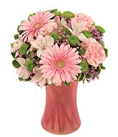Pink Gerberas, Pink carnations and pink alstroemeria bouquet