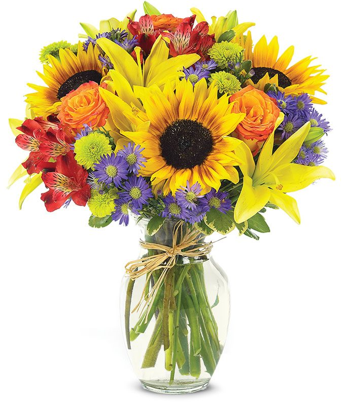 Sunflowers, yellow lilies and red alstroemeria