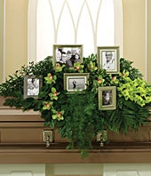 Casket Spray with green orchids, salal and gladiolus