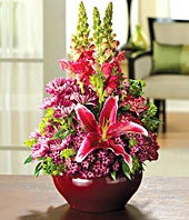 Pink Lilies, burgundy pompons and pink snapdragons
