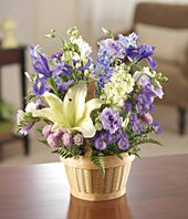 Baby boy bouquet with blue delphinium and purple flowers