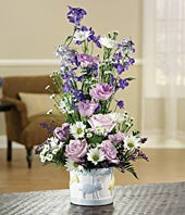Lavender roses, blue delphinium and monte casino delivered
