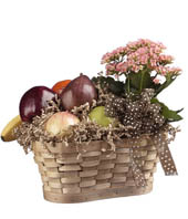 Kalanchoe Basket florist arranged with a fruit basket