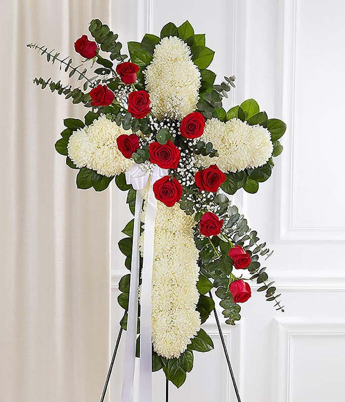 White mums & red roses in cross standing spray