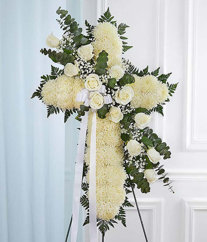White Floral Standing Cross With White Roses