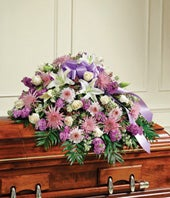 Lavender & White Floral Mixed Half Casket Cover