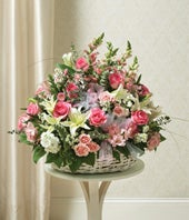 Pink & White Flower Sympathy Basket