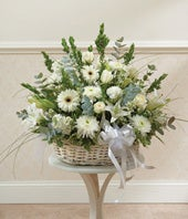 White Floral Sympathy Arrangement In Basket