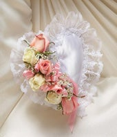 Pink & White Flower Satin Heart Casket Pillow