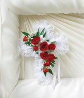 Red & White Flower Satin Cross Casket Pillow