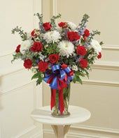Red, White & Blue Flower Arrangement