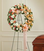 Peach, Orange & White Flower Standing Wreath