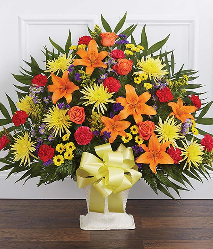 Mixed Flower Sympathy Floor Basket