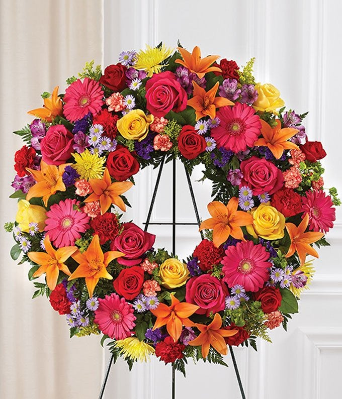 Hand Arranged Bright Standing Wreath