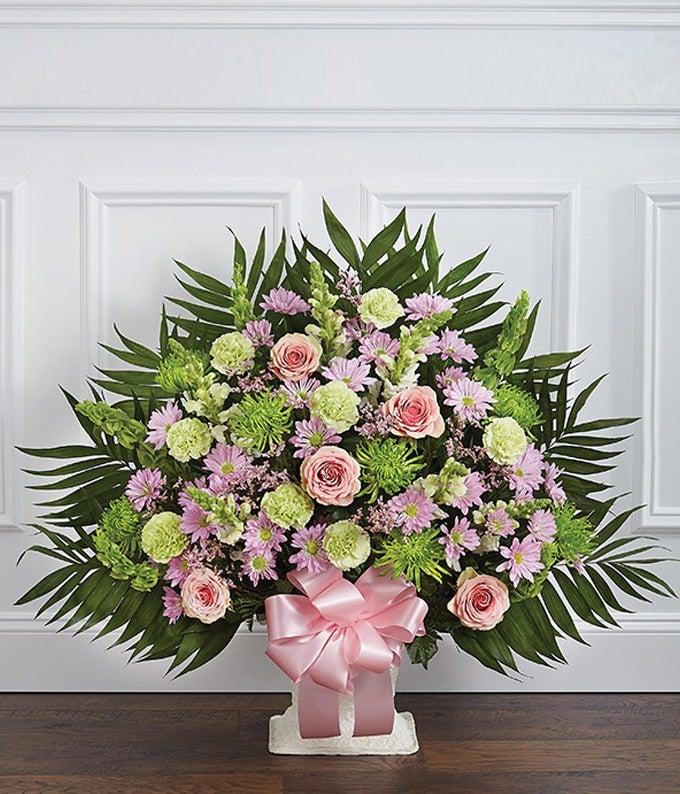 Pastel Floral Sympathy Floor Basket