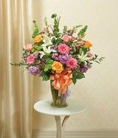Pastel Floral Large Sympathy Vase Arrangement