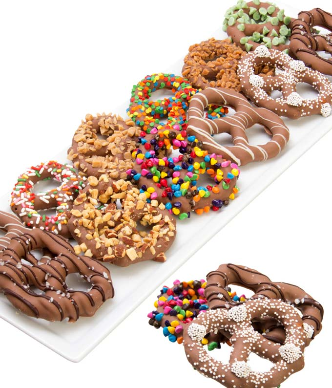 Chocolate Dipped Pretzel Twists with Candy