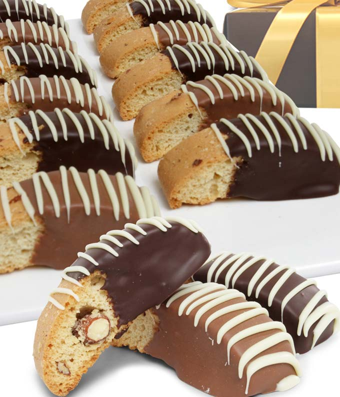 Belgian Chocolate Dipped Biscotti Assortment - 12 Pieces