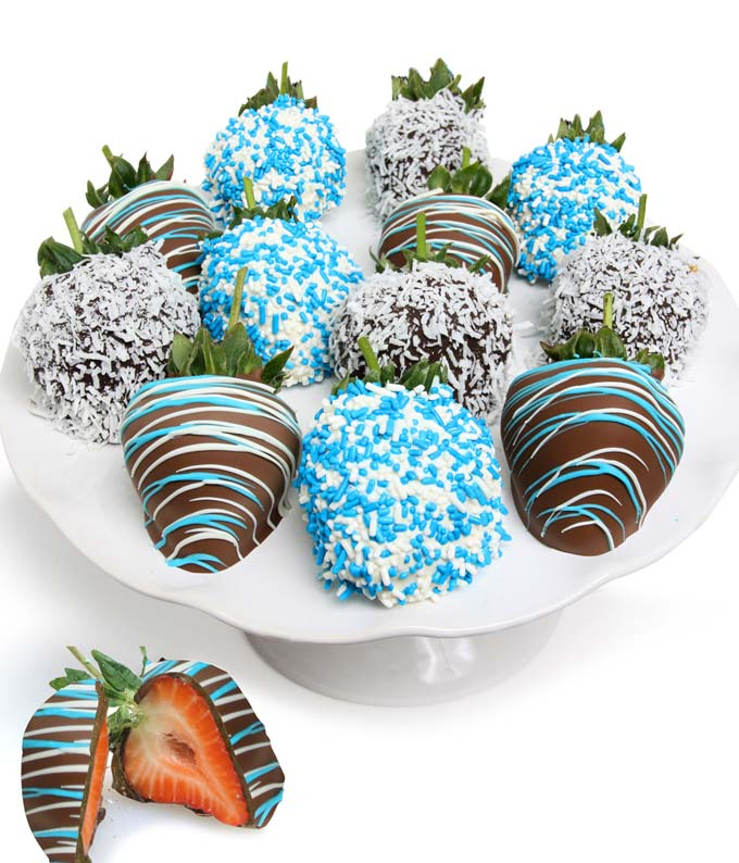 Baby Boy Chocolate Covered Strawberries - 12 Pieces