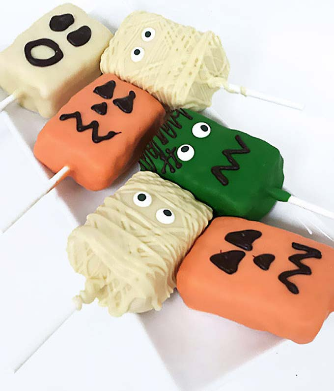Spooky Halloween Chocolate Covered Crispy Pops - 6 Pieces
