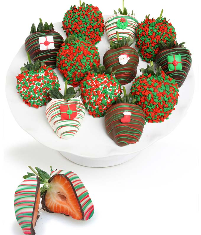 Christmas Chocolate Covered Strawberries - 12 Pieces