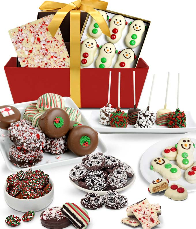 Christmas Chocolate Covered Gifts Basket