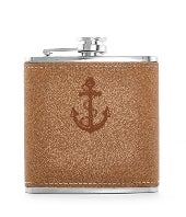 Anchor Brown Leather Flask