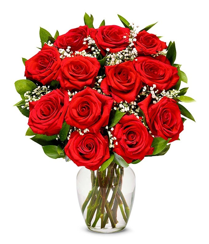 One Dozen Valentine Roses in Red